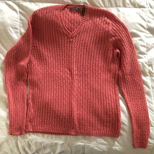 V-Neck Long Sleeve Cable Knit Sweater, Size Large